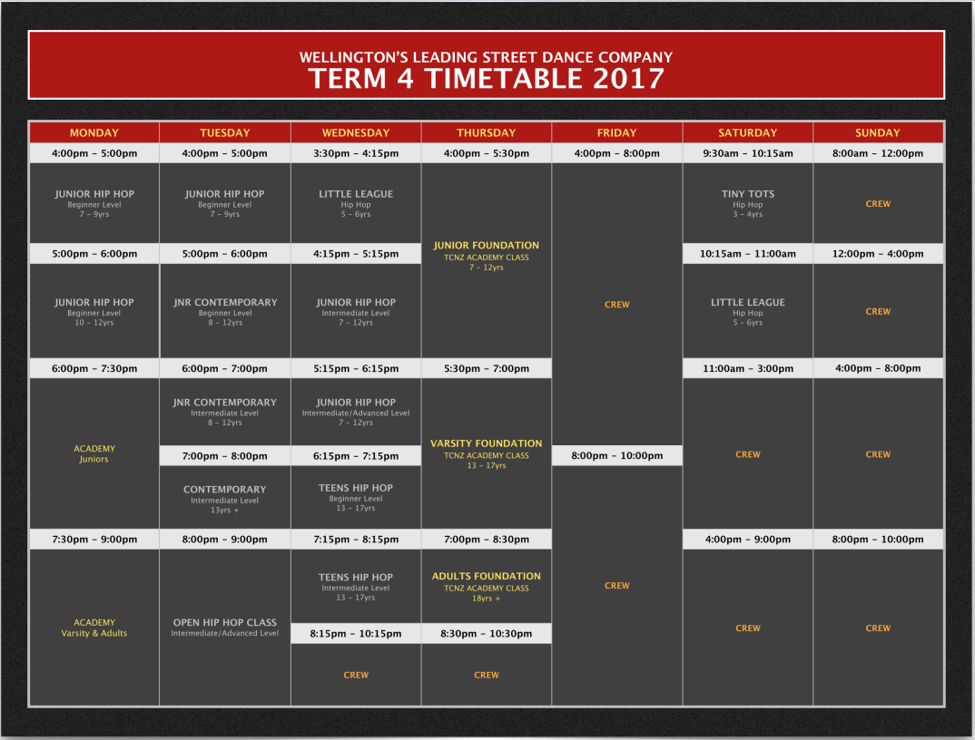 TERM 4 Timetables