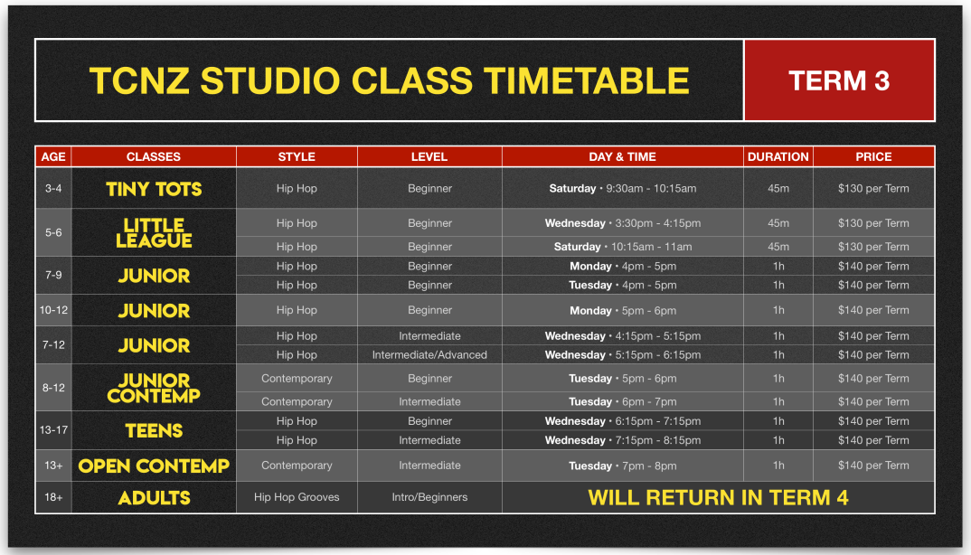 Timetable Term 3 FIXED