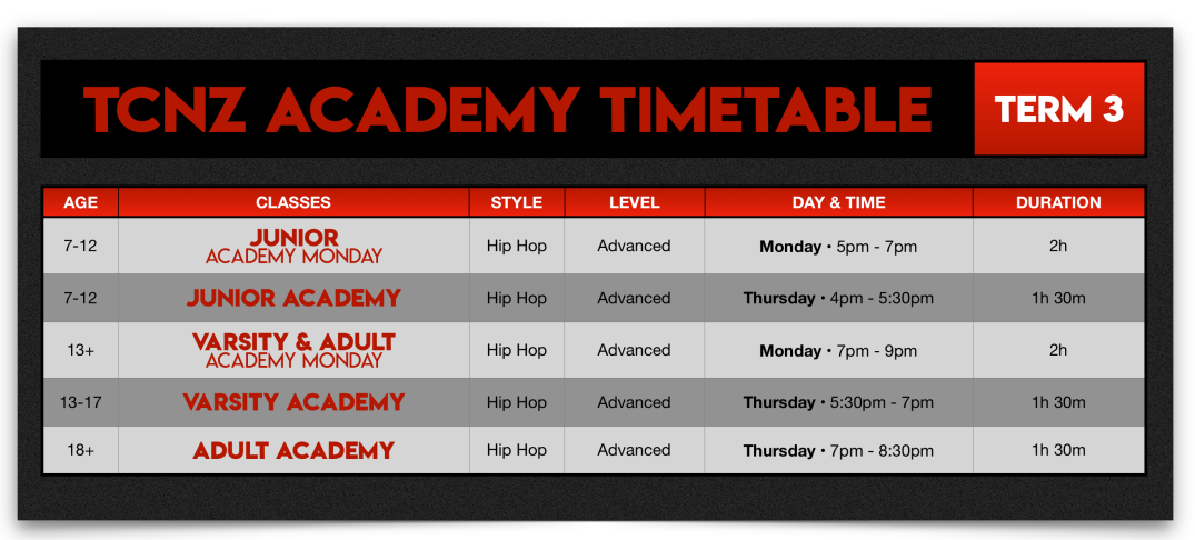 T3 Academy Timetable 2019