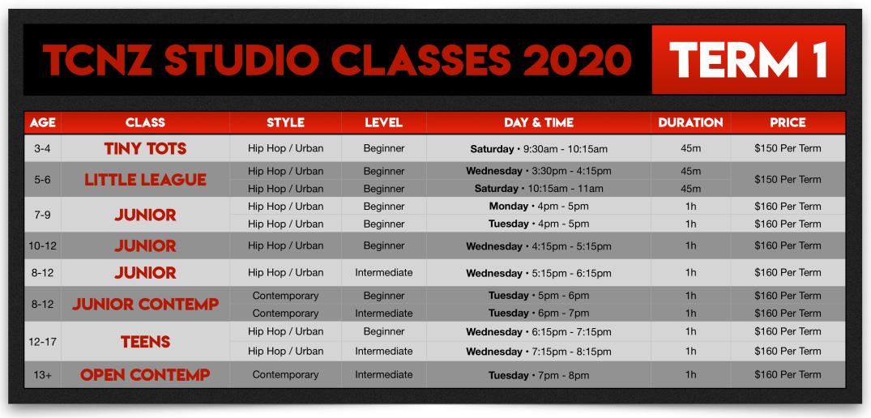 TCNZ Studio Classes 2020
